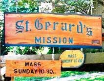 "The ""St. Gerard's Mission"" sign, donated by Dorman family members. Suzanna Wright photo."