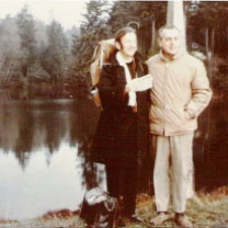 Father Gerard Beauregard and Bowen resident Ernie Peerless by the lagoon. J. Intihar photo.