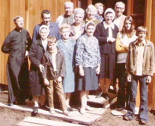 "Fr. Beauregard and some of ""his flock"" after the first Mass at St. Gerard's church, September 5, 1971. J. Intihar photo."