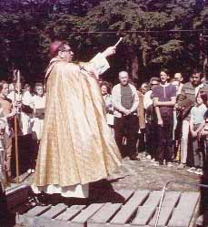 Archbishop James Carney consecrating St. Gerard's church, June 18, 1972. J. Intihar photo.