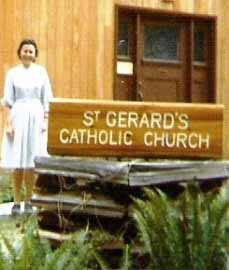 "The ""St. Gerard's Catholic Church"" Bowen church sign carved by Harry Wright, soon after it was installed in 1971. Sister Jo Wright beside the sign. Peter Wright photo."