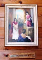 "The First Station, ""Pilate condemns Jesus to die,"" painted by Mrs. Camilla Roberts, St. Gerard's parishioner. Suzanna Wright photo."