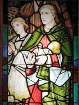 "The stained glass window from an 1840 Coventry church and the Bensons' former Bowen Island home: ""For such is the kingdom of God."" Suzanna Wright photo."