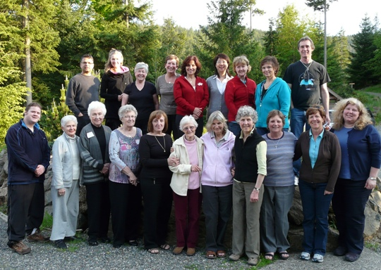 Father Ranjan d'Sa (top left) and St. Gerard's 2011 retreat group at Rivendell Retreat Centre, Bowen Island, B.C.