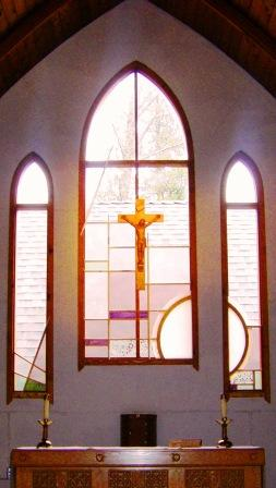 Simple stained glass windows at St. Gerard's Catholic Christian Church, Bowen Island, B.C.