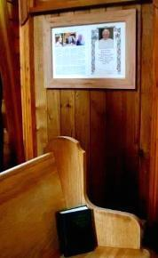 Memento of Agneta Wright (1909-2009) near her favourite pew at St. Gerard's, Bowen Island. Suzanna Wright photo.