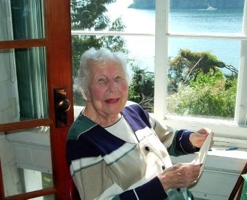 Mrs. Agneta Wright on her 99th birthday in the sunroom overlooking Deep Bay, Bowen Island. Maria Wright photo.