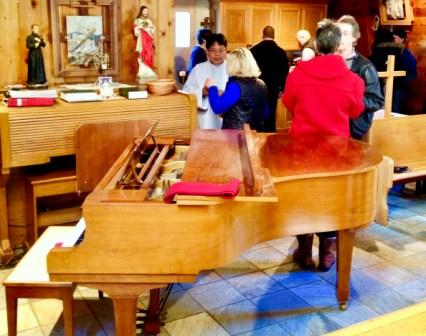 Grand piano at St. Gerard's Catholic Christian Church, Bowen Island, British Columbia.